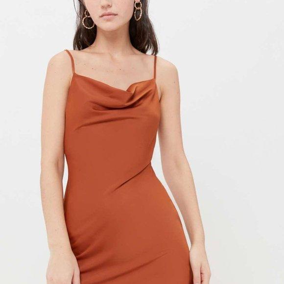 NWOT UO Mallory Cowl Neck Slip Dress in Terracotta